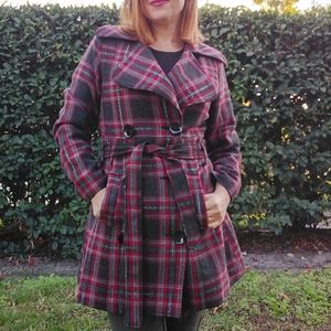 Cello Jeans Red Plaid Wool Trench Coat L NICE!